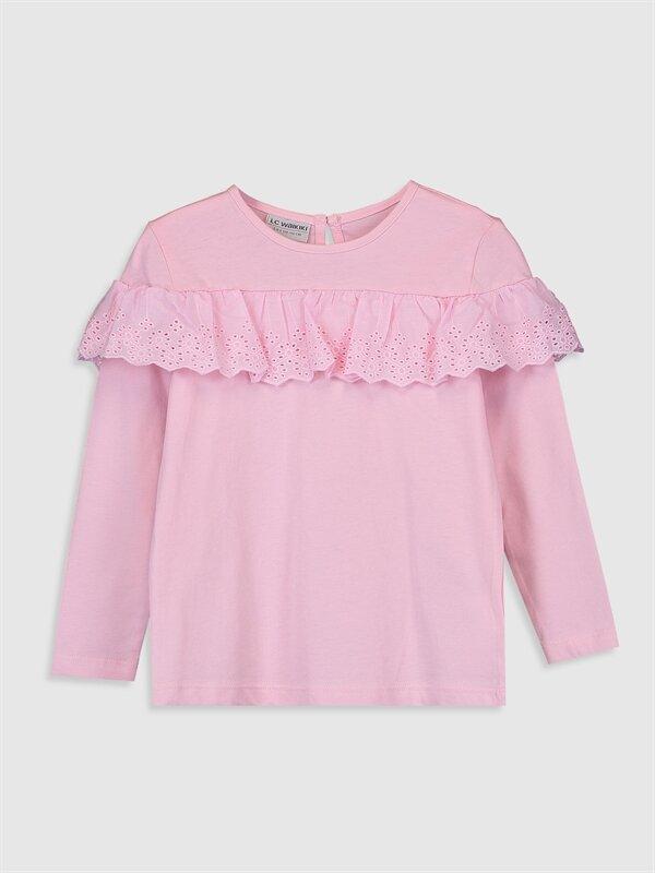Kız Çocuk Fırfır Detaylı Pamuklu Tişört - LC WAIKIKI