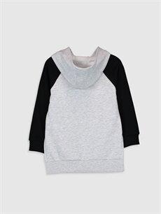 %44 Pamuk %56 Polyester  Kız Çocuk Baskılı Kapüşonlu Sweatshirt