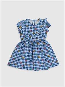 Lacivert Kız Çocuk Çiçekli Pamuklu Elbise 0S5191Z4 LC Waikiki