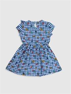 %100 Pamuk Diz Üstü Desenli Kız Çocuk Çiçekli Pamuklu Elbise