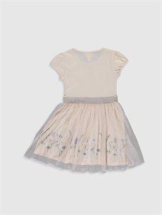 %100 Pamuk %100 Pamuk Diz Üstü Desenli Kız Çocuk Baskılı Tüllü Elbise
