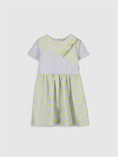 Gri Kız Çocuk Puantiyeli Kısa Kollu Elbise 0S5199Z4 LC Waikiki
