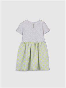 %59 Pamuk %41 Polyester Diz Üstü Desenli Kız Çocuk Puantiyeli Kısa Kollu Elbise