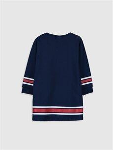 %82 Pamuk %18 Polyester Diz Üstü Desenli Kız Çocuk Yazı Baskılı Sweatshirt Elbise