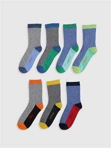 %65 Pamuk %14 Polyester %19 Poliamid %2 Elastan  Erkek Çocuk Soket Çorap 7'li