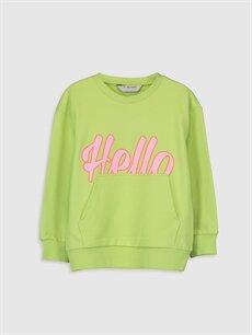 Yeşil Kız Çocuk Baskılı Sweatshirt 0S6179Z4 LC Waikiki