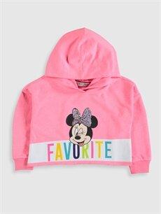 %50 Pamuk %50 Polyester  Kız Çocuk Minnie Mouse Baskılı Sweatshirt