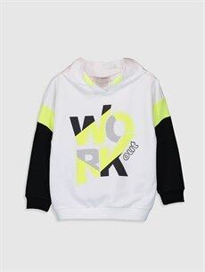 Beyaz Kız Çocuk Baskılı Kapüşonlu Sweatshirt 0S6985Z4 LC Waikiki