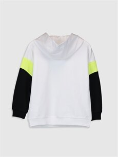 %80 Pamuk %20 Polyester  Kız Çocuk Baskılı Kapüşonlu Sweatshirt