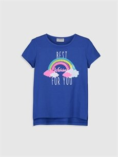Mavi Kız Çocuk Baskılı Pamuklu Tişört 0S7682Z4 LC Waikiki