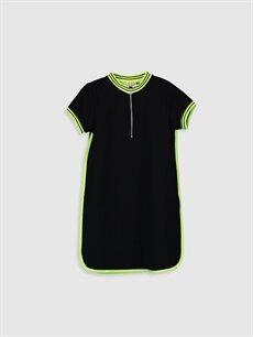Siyah Kız Çocuk Kısa Kollu Elbise 0S8773Z4 LC Waikiki
