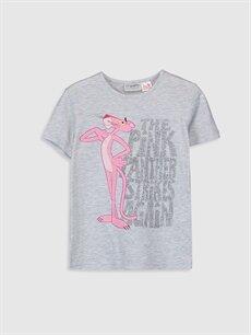Gri Kız Çocuk Pembe Panter Baskılı Tişört 0S8899Z4 LC Waikiki
