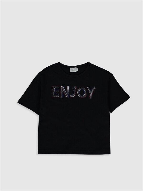 Kız Çocuk Pul İşlemeli Pamuklu Tişört - LC WAIKIKI