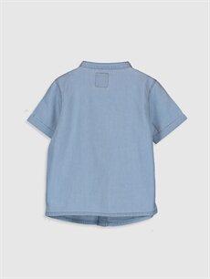 %100 Pamuk Düz Standart Kısa Kol Erkek Bebek Jean Gömlek