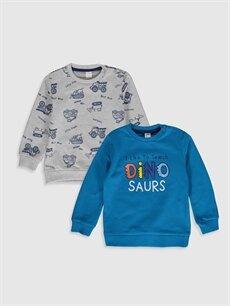 Turkuaz Erkek Bebek Baskılı Sweatshirt 2'li 0S0362Z1 LC Waikiki