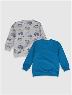 %61 Pamuk %39 Polyester  Erkek Bebek Baskılı Sweatshirt 2'li
