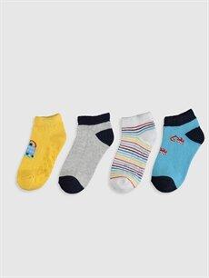 %73 Pamuk %19 Polyester %6 Poliamid %2 Elastan  Erkek Bebek Soket Çorap 4'lü