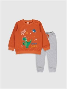 Turuncu Erkek Bebek Baskılı Sweatshirt ve Pantolon 0S1480Z1 LC Waikiki