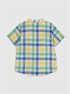 %100 Pamuk Standart Kısa Kol Desenli Erkek Bebek Ekoseli Poplin Gömlek