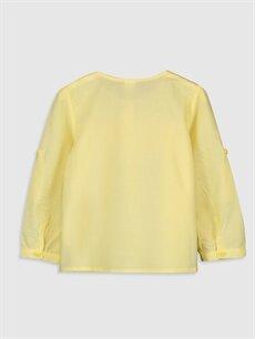 %100 Pamuk Düz Uzun Kol Kız Bebek Poplin Gömlek