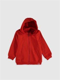 Kırmızı Kız Bebek Kapüşonlu Fermuarlı Sweatshirt 0S4955Z1 LC Waikiki