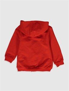 %100 Pamuk  Kız Bebek Kapüşonlu Fermuarlı Sweatshirt