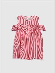 Beyaz Kız Bebek Çizgili Elbise 0S5633Z1 LC Waikiki