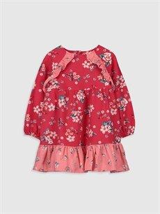 Bordo Kız Bebek Desenli Twill Elbise 0S6533Z1 LC Waikiki
